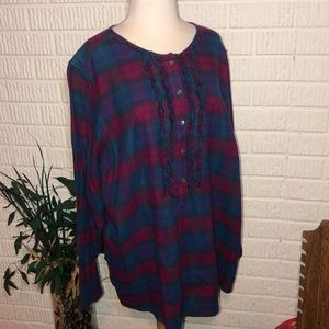Lands End Flannel Plaid Top